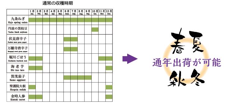 京野菜の年間出荷時期